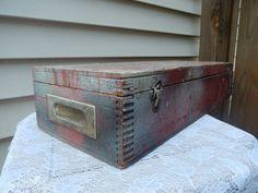 vintage wooden box, distressed, primitive, storage, home decor, rustic, tool box, paint box, photoprop