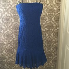 NWT Gorgeous Blue dress NWT Gorgeous Cache Blue dress with back zipper.  Original price $198 purchased on sale for $ 139. Cache Dresses Midi