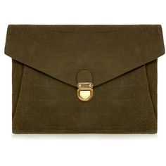 J.Lindeberg Utility Green Suede Croc Envelope Clutch (135 CHF) ❤ liked on Polyvore featuring bags, handbags, clutches, green, envelope clutch, crocodile handbag, green purse, brown suede handbag and croc purse