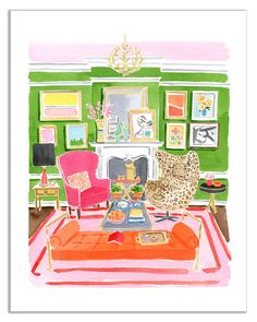 Caitlin McGauley. You might recognize from Kate Spade. I love her style and how she captures NY and interiors and everything she watercolors.  Every single one.