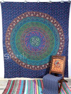 Twin Multi coloured Mandala Hippie Tapestry Hippie Boho by Sparshh