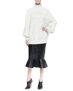 Dolman-Sleeve Cable Sweater and Leather Midi Skirt with Peplum Flare by Oscar de la Renta at Bergdorf Goodman.