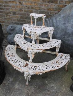 This amazing planter stand was purchased on a buying trip in the West Country from a private house call. It is Victorian Coalbrookdale style. It rea Iron Furniture, Garden Furniture, Metal Plant Hangers, Diy Plant Stand, Plant Stands, European Style Homes, Iron Plant, Iron Decor, Wrought Iron