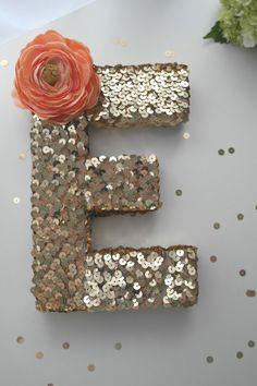 DIY Sequin Monogram   CatchMyParty.com