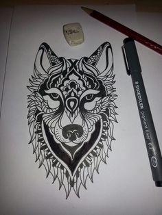 Tatouage Tete De Loup Tatouage Pinterest