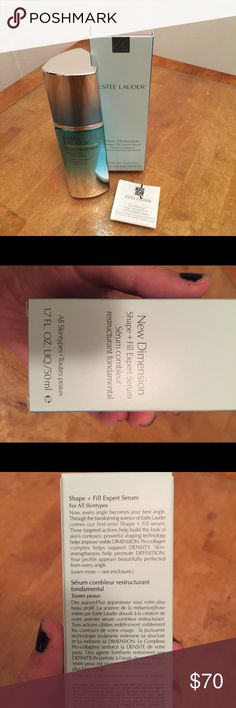 NEW! Estée Lauder Shape & Fill Serum 1.7 oz $129 BRAND NEW! ONLY OPENED BOX FOR PHOTO! Estée Lauder New Dimension Shape & Fill Expert Serum. 1.7 oz/50 ml. Received in a gift bag in October 2016, but I won't use it because I'm dedicated to my current skincare regimen. This retails $129 + tax/shipping so I'm passing along a great deal! Estee Lauder Makeup Face Primer
