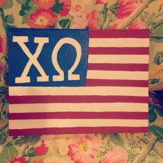 Chi omega sorority America- flag canvas. Super happy with the way it turned out!