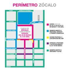 Cortes viales en el perimetro del Zócalo.