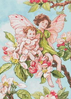 Apple Blossom Fairy Cross Stitch Pattern, Fairy Chart, Cross Stitch Pattern, Colors 47, 252x350 St, PDF, Digital, Instant Download #05-02