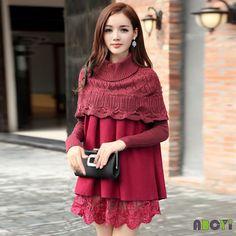 Vestido de baile vestido de gola alta Vintage outono de manga comprida, bordado camisolas capa manto camisola de malha de renda vermelho / preto mulheres(China (Mainland))