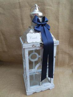 Pick your ribbon color - Large Nautical Wedding Lantern Card Holder, Beach Style Wedding Decoration, Money Holder, Card Box, Wedding Lantern on Etsy, $102.22 CAD