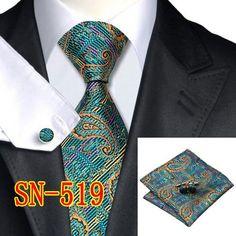 Mans Tie Paisley 100% Silk Jacquard Necktie gravata corbatas hanky Cufflinks Set for men Formal Wedding Party