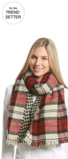 Gifts for the Trend-Setter | Steve Madden Plaid Houndstooth Blanket Wrap   | Very Merry Gift Guide