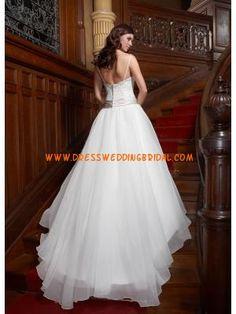 Fabulous Spaghetti Straps Beaded Ivory Organza Vintage Design Wedding Dress 2013