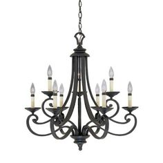 Designers Fountain Monte Carlo 9-Light Hanging Natural Iron Chandelier-9039-NI…