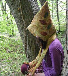 Dryad Enchanted Leaf Hood Scarf Woodland Felt by folkowl on Etsy, $75.00