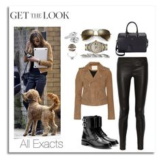 """""""Eleanor Calder with Bruce 3\23\2015"""" by lifeisworthlivingagain ❤ liked on Polyvore featuring Maje, Helmut Lang, Yves Saint Laurent, Ray-Ban, Rolex, Bottega Veneta, Alexander McQueen and Fendi"""