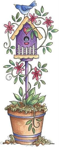 Add decorative bird house to bucket of pole / green beans (for them and my path's hope to climb)