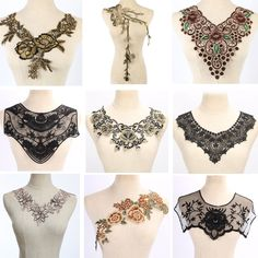 1 piece Craft Gold collar Venise Sequin Floral Embroidered Applique Trim Decorated Lace Neckline Collar Sewing-in Lace from Home & Garden on Aliexpress.com | Alibaba Group