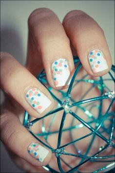 Spring polka dots nails