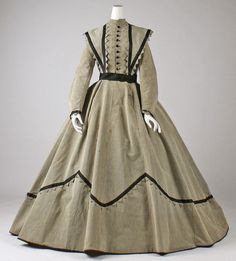 Dress Date: ca. 1868 Culture: American Medium: wool Dimensions: Length at CB: 60 in. cm) Credit Line: The Jacqueline Loewe Fowler Costume Collection, Gift of Jacqueline Loewe Fowler, 1982 Accession Number: Civil War Fashion, 1800s Fashion, 19th Century Fashion, Victorian Fashion, Vintage Fashion, 17th Century, 1800s Clothing, Antique Clothing, Historical Clothing