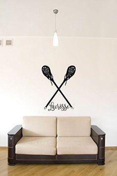 Lacrosse Sticks Vinyl Wall Words Decal Sticker Graphic