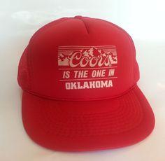 24895527db9 Vintage Coors Trucker Hat Red Mesh Snapback Foam Beer Logo Baseball Cap  Oklahoma