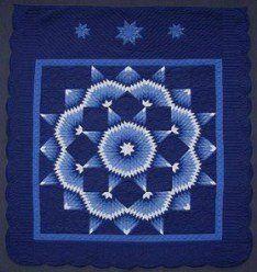 Custom Amish Quilts - Blue Broken Radiating Star; Amish Quilter