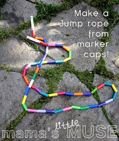 marker cap jump rope by Mama's Little Muse:  Alex can make one for Abbey to use when she gets a little bigger