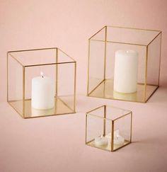 "Geometric 3"" Cube Glass candleholder Lantern Terrarium Vase (Gold) - Viva La Rosa Candlestick Centerpiece, Vase Centerpieces, Wedding Table Centerpieces, Candlesticks, Tall Centerpiece, Wedding Decorations, Table Wedding, Centerpiece Ideas, Wedding Reception"