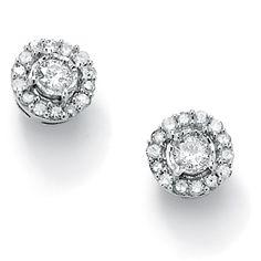 .26 TCW Round Diamond 10k White Gold Stud Cluster Earrings