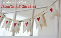 Very cute and surprisingly easy Valentine's Day garland tutorial. Exchange stars for hearts and add blue craft paint for patriotic garlands. Add green instead of blue paint to the stars for Christmas garlands. Green paint and Shamrocks for St. Patrick's Day...guess by now you get the idea!