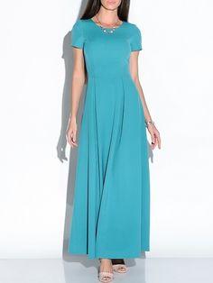Colorful Crew Neck Plain Maxi-dress #ClothingOnline #PlusSizeWomensClothing #CheapClothing #FashionClothing #womenswear #sexydress #womensdress #womenfashioncasual #womensfashionforwork #fashion #womensfashionwinter