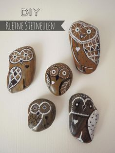 Painting Pebbles , Pattern Idea for Painting on Stones and Rocks, Animal Stones, Animal Shapes , animals, rocks, stones, realistic , Stein Bemalen, Stone Crafts, rock crafts, DIY, kawaii, cute ,critters,creatures, eule, owl