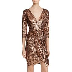Aqua Sequin Faux-Wrap Dress featuring polyvore, women's fashion, clothing, dresses, copper, sequin embellished dress, sequin cocktail dresses, aqua blue dress, faux wrap dress and brown wrap dress