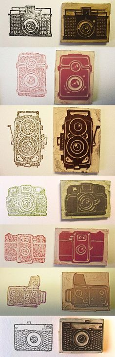Vintage Cameras carved on rubber sole on Behance