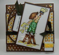 Hard Workin Man Handmade OOAK Keepsake Card by thehoosierstamper, $12.95 USD