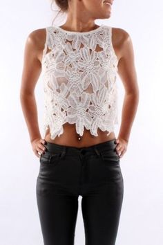 Adorable Crop Tops to Show off Your Midriff ... → SLEEVELESS CROCHET CROP TOP