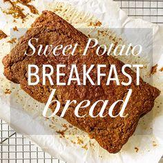Sweet Potato Bread for Breakfast Steamed Sweet Potato, Sweet Potato Bread, Sweet Potato Breakfast, Breakfast Potatoes, Pumpkin Loaf, Starbucks Pumpkin, Unsweetened Applesauce, Food Dishes