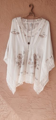 Monoreno Resort beach bohemian gypsy ivory and taupe embroidery kaftan / Bohemian Angel
