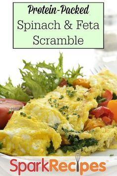 Celebrate spinach season with this lean and green scramble. Salty feta and velvety eggs combine beautifully with wilted spinach for a filling breakfast that's high in protein.