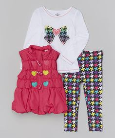 Look what I found on #zulily! Pink Heart Puffer Vest Set - Infant, Toddler & Girls by Kids Headquarters #zulilyfinds