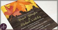 Rustic Autumn Leaves Wood Wedding Invitations and RSVP - Printed or Printable