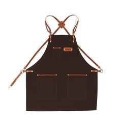 Barista Apron Dark Brown Canvas with Honey Brown от KustomDuo