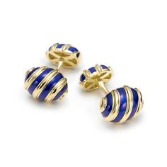 Tiffany & Co. Schlumberger® Olive cuff links in 18k gold with blue enamel.