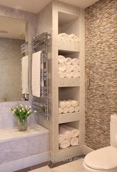 Cool bathroom with shelves for towels // love how this feels like a spa! Could do this in our current bath now. The post bathroom with shelves for towels // love how this feels like a spa! Could do th… appeared first on Home Decor .