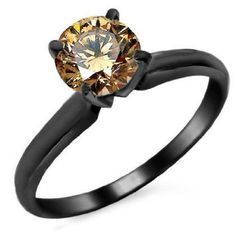 .66ct Brown Round Diamond Solitaire Engagement Ring 14k Black Gold: Jewelry: Amazon.com