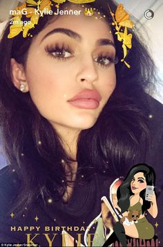 Hostess with the mostess: Earlier in the day Kylie shared a Snapchat before hitting the beach as she even has her own birthday graphic