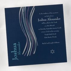 This Navy Bar Mitzvah Shawl Invitation is great for inviting guests to your son's Bar Mitzvah celebration.  See all the details of this invitation design here - http://printedcreations.carlsoncraft.com/Parties--Celebrations/Bar--Bat-Mitzvah-Invitations/3125-BA81S6R-Navy-Bar-Mitzvah-Shawl--Invitation.pro.  #barmitzvah