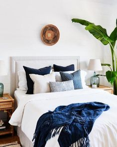 traditional meets modern bedroom design with modern neutral bedding, modern neutral bedroom design and chandelier, coastal bedroom decor with blue and white bedroom decor Blue Bedroom Decor, Home Bedroom, Bedroom Ideas, Bedroom Designs, Bedroom Inspo, Navy Home Decor, Bedroom Images, Bedroom Chair, Bedroom Inspiration